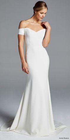 516ecf8875ec0 anne barge bridal spring 2019 off shoulder short sleeves sweetheart  neckline minimally embellished sheath wedding dress
