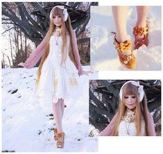 Emilka P - Rose Melody White Dress, H&M Deer Collar, Jcpenney White Earmuffs, Orsay Lavendar Blouse - And poor Gerda's heart longs for her dear Kai...