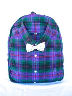 Backpack Shirt Purple Green Plaid Vintage Style handmade remodel unique