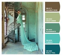 teals turquoise mint green pistachio browns monochromatic nursery ...