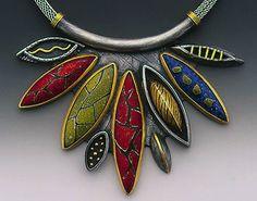 Necklace | Jody Petersen.  'Nabokov's Dozenita'.  Vitreous enamel on copper…