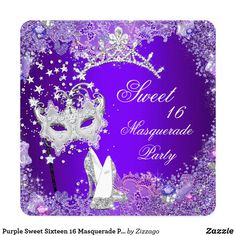 Purple Sweet Sixteen 16 Masquerade Party Tiara Card Purple Sweet Sixteen 16 Masquerade Party. Tiara Shoe Masquerade Mask. Pretty Silver Tiara Shoe Tiara Masquerade ball 16th Birthday Party Invitation All Occasions Party. Customize with your own details and age. Template for Sweet 16, 16th, Quinceanera 15th, 18th, 20th, 21st, 30th, 40th, 50th, 60th, 70th, 80th, 90, 100th, Fabulous product for Women, Girls, Zizzago created this design PLEASE NOTE all flat images! They Do NOT have real Glitter…