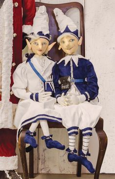 Julie and Jack Frost dressed in wintery blue and can't wait to make snow and icicles. Display Jack Frost and Julie frost on an entry bench to greet your guests with winter cheer. - Set of 2 - cloth di