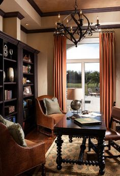 Mediterranean Home Office Photos Ceilings Design Ideas, Pictures, Remodel, and Decor - page 7