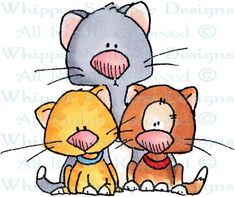 Kitties x 3 - Cats - Animals - Rubber Stamps - Shop