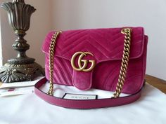 1f88d6085cfc Gucci GG Marmont Small Flap Bag in Fuschia Pink Velvet Matelassé - SOLD