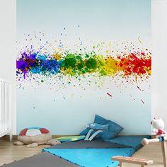 Non-woven Wallpaper - Rainbow Splatter - Mural Square wallpaper wall mural photo feature wall-art wallpaper murals bedroom living room apalis https://www.amazon.ca/dp/B00ZMWKWRW/ref=cm_sw_r_pi_dp_HRgaxbNABJJBT