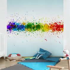 Non-woven Wallpaper - Rainbow Splatter - Mural Square wallpaper wall mural photo feature wall-art wallpaper murals bedroom living room apalis https://www.amazon.ca/dp/B00ZMWKWRW/ref=cm_sw_r_pi_dp_HRgaxbNABJJBT