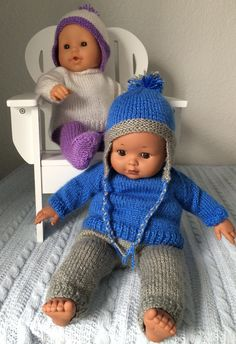 "Baby its Cold Outside!! Sweater, leggings, pants and hat with ear flaps for 14"" Corolle baby doll. http://www.ravelry.com/patterns/library/corolle-14-doll-hat-leggings-pants-sweater"