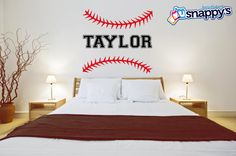 Personalized Baseball Softball Stitches Wall Decal - Custom Baseball wall decal for boys or girls room. (Removable Wall Decal)