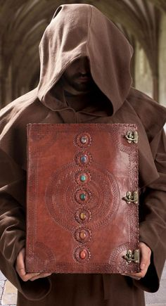 This oversized Leather Journal is handmade of rich, embossed brown leather and adorned with seven chakra stones. Leather Book Covers, Leather Books, Leather Cover, Leather Gifts, Handmade Leather, Leather Jewelry, Leather Bound Journal, Handmade Books, Handmade Notebook