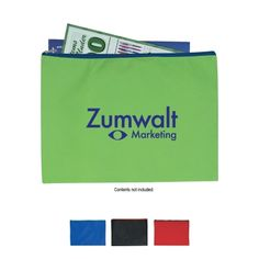 Non-Woven Document Sleeve With Zipper - #3042   www.logosurfing.com (800) 728-7192