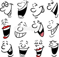 Illustration of Cartoon faces and emotions for humor or comics design vector art, clipart and stock vectors. Cartoon Eyes, Cartoon Drawings, Art Drawings, Cartoon Mouths, Drawing Faces, Silly Faces, Funny Faces, Illustration Vector, Vector Art