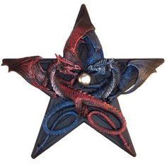 Dragons Pentagram Star Wall Hanging / Plaque