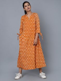 Size Chart (In inches) - These are body measurements Length of garment is XS - Chest : Waist : Hip : Sleeve Length : 18 S - Chest : Waist Churidar Designs, Kurta Designs Women, Blouse Designs, Dress Designs, Indian Gowns Dresses, Ikat Dresses, Maxi Dresses, Simple Kurti Designs, Simple Gowns