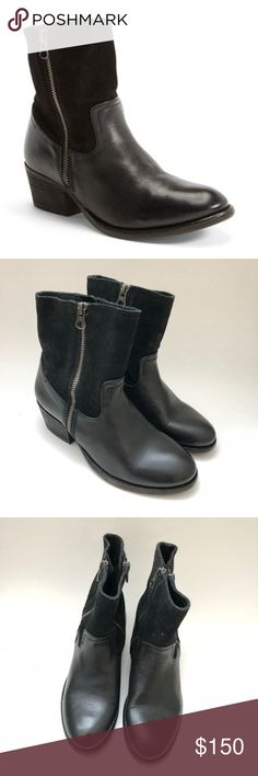 """H by Hudson Womens Riley Western boot 36 US  5-5.5 H by Hudson Womens Riley Western Cowboy Boots Black Suede Leather Half Ankle Shoe Size EU 36 US 5-5.5 New no box A classic leather bootie with Western influences features twin zippers at the sides for a dash of industrial edge.  1.75"""" heel 6"""" boot shaft; 10.5"""" ankle circumference. Functional side zippers. Leather upper/leather and textile lining/leather sole. Fast shipping H By Hudson Shoes Combat & Moto Boots"""