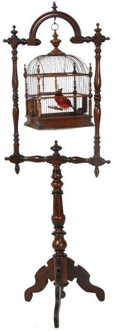 Victorian Walnut Birdcage & Stand : Lot 79