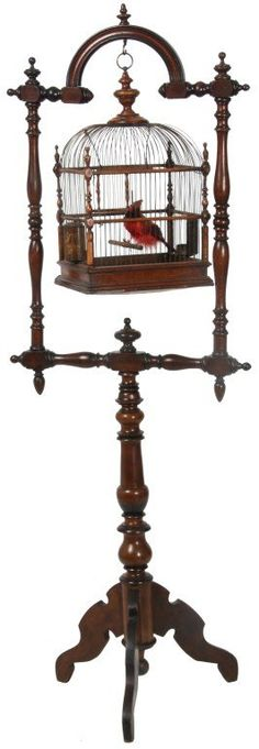 Victorian Walnut Birdcage & Stand : Lot 79