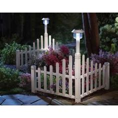 White Fence Corner Lawn Edging With Solar Light By Collections Etc