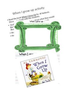 First Week of School:  When I Grow Up Activity