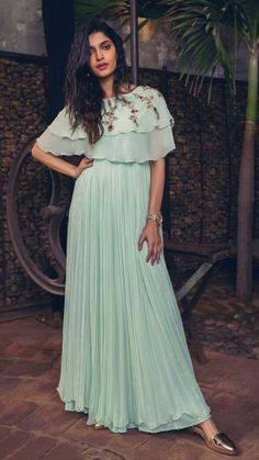 Beautiful Geoegette-silk Gown with superb embroidery embellishments. Indian Fashion Dresses, Indian Gowns Dresses, Indian Outfits, Frock Fashion, Pakistani Outfits, Fashion Outfits, Casual Gowns, Frocks And Gowns, Simple Gowns