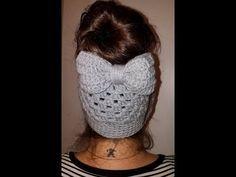 Crochet BOW for messy bun beanie - YouTube