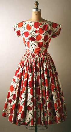 Dress Norman Norell (American, Noblesville, Indiana 1900–1972 New York) Date: 1954 Culture: American Medium: cotton, leather