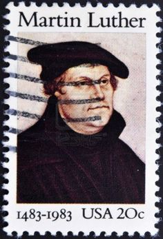 1983 US stamp honoring Luther, based on a painting from the studio of Lucas Cranach the Elder, 16th century.