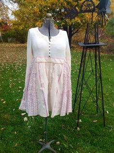 Upcycled Bohemian Tunic Top-Size Large To XL Tunic-Cabin Chic Tunic-Upcycled Romantic Tunic-Pink Shabby Chic Tunic Dress-French Country