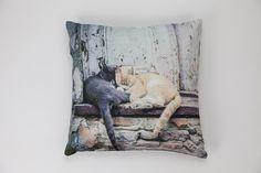 Capa de Almofada Gatos Adormecidos 45 x 45 cm   A Loja do Gato Preto   #alojadogatopreto   #shoponline   referência 26866401