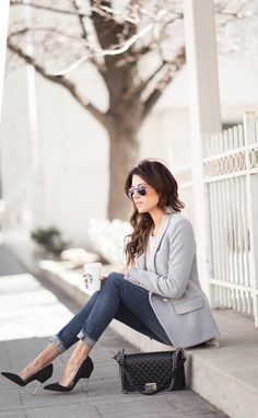 Try a grey blazer with rolled up jeans and black stilettos a la Christine Andrew. Blazer: intermix, Top: ILY Couture.