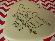 Our 1st Christmas Porcelain Heart Ornament  by aphroditescanvas, $28.00
