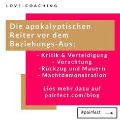 Die apokalyptischen Reiter kündigen das Ende einer Beziehung an. Bevor es so weit kommt ... die Liebe pflegen!  #beziehung #liebe #love #familie #glücklich #leben #relationship #couplegoals #couple #freunde #erfolg #paar #partnerschaft #glück #selbstliebe #baby #herz #instamama #instagood #kinder #verliebt #persönlichkeitsentwicklung #ehe #pairfect #schlussmitroutine #kommunikation Boarding Pass, Blog, Stay On Track, The Four Horsemen, How To Relieve Stress, Self Love, Relationships, In Love, Communication