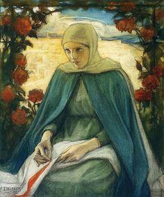 The Virgin Mary in the Rose Garden....Albert Gustaf Aristides Edelfelt (1854 - 1905) ...
