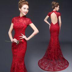 Burgundy red open back trailing prom dress mandarin collar Chinese bridal wedding cheongsam