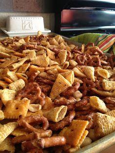 Bugles, Cheez-Its, Pretzels, Corn Chex, Nuts