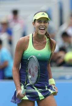 Ana Ivanovic Photos - Ana Ivanovic of Serbia reacts after winning the match against Madison Brengle of USA on Day 3 of 2015 Dongfeng Motor Wuhan Open at Optics Valley International Tennis Center on September 2015 in Wuhan, China. Ana Ivanovic, Sport Tennis, Play Tennis, French Open, Foto Sport, Female Surfers, Tennis Online, Professional Tennis Players, Beautiful Athletes