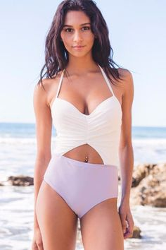 Cupshe Contrast Color One-piece Swimsuit. Ditch the bikini and show off those curves. One Piece Swimwear, One Piece Swimsuit, Mermaid Evening Gown, The Bikini, Sexy Bikini, Party Dresses For Women, 34c, Bathing Suits, Contrast Color