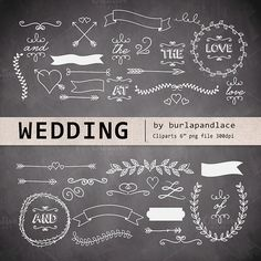 Check out Chalkboard wedding cliparts by burlapandlace on Creative Market