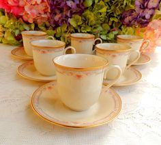 6 Beautiful Lenox Porcelain Cups & Saucers ~ Bellaire ~ Pink Blue Flowers ~ Gold #Lenox