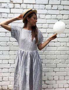 Long Linen Dress Linen Maxi Dress Plus size Dress Striped