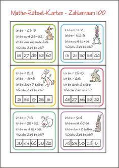 Zahlenrätsel-Karten - Zahl Gesucht - Rechnen im Zahlenraum 100 - Kostenlose Mathematik Arbeitsblätter für die 2. Klasse Grundschule