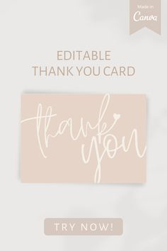 - Pastel pink thank you card template for all occasion - Feminine, Aesthetic, Simple, Stylish - Send your love to those who attended your wedding or party - For small business - Edit text on Canva (for free), download, print or send it online! #thankyoucardtemplate #smallbusiness #editabletemplate #printabletemplate