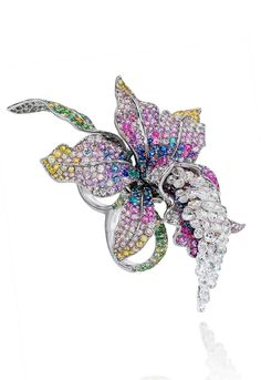 Anna Hu Enchanted Orchid Duo ring in white gold, set with 49 briolette diamonds totalling 12.19ct, multi-coloured sapphires, multi-coloured diamonds and Paraiba tourmalines.     ht