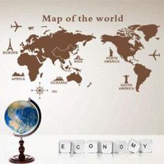 Pegatina de pared Mapa del Mundo oficina €9.99