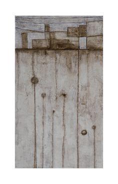 Allegoria della notte rischiarata 2. Cemento bianco, bitume, pigmenti naturali su tavola cm 24 x 43. 2014