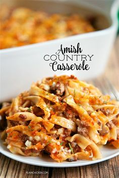 Amish Country Casserole - comfort food at its best!! Hamburger, Tomato soup, cream of mushroom, onion, garlic, milk, Worcestershire…