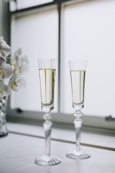 Baccarat Mille Nuits Clear Crystal Champagne Flutes | Wedding Shoot ...