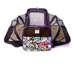 Premium Double Expandable Luxury Dog and Cat Pet Carrier Airline Approved - Foldable with Fleece Bedding - Pet Penthouse by Canines and Critters black/floral Large