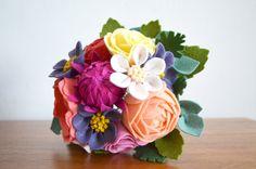 Heirloom Felt Flower Bouquet Ranunculus by ThistleandCrown